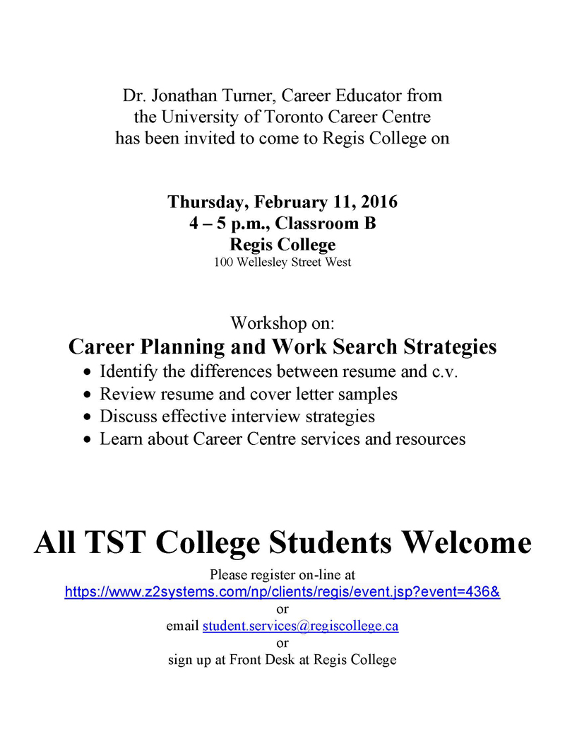 Career Planning and Work Search Strategies Workshop