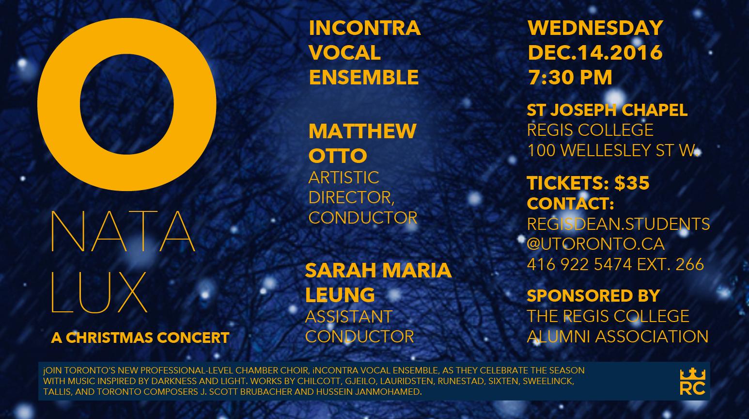 Regis College - Christmas Concert: O Nata Lux