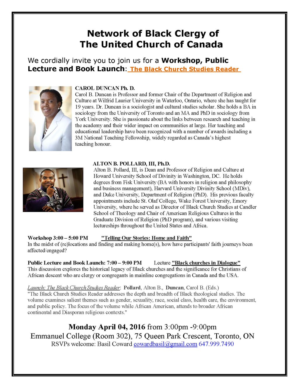 Network of Black Clergy of UCC Workshop, Lecture, Book Launch