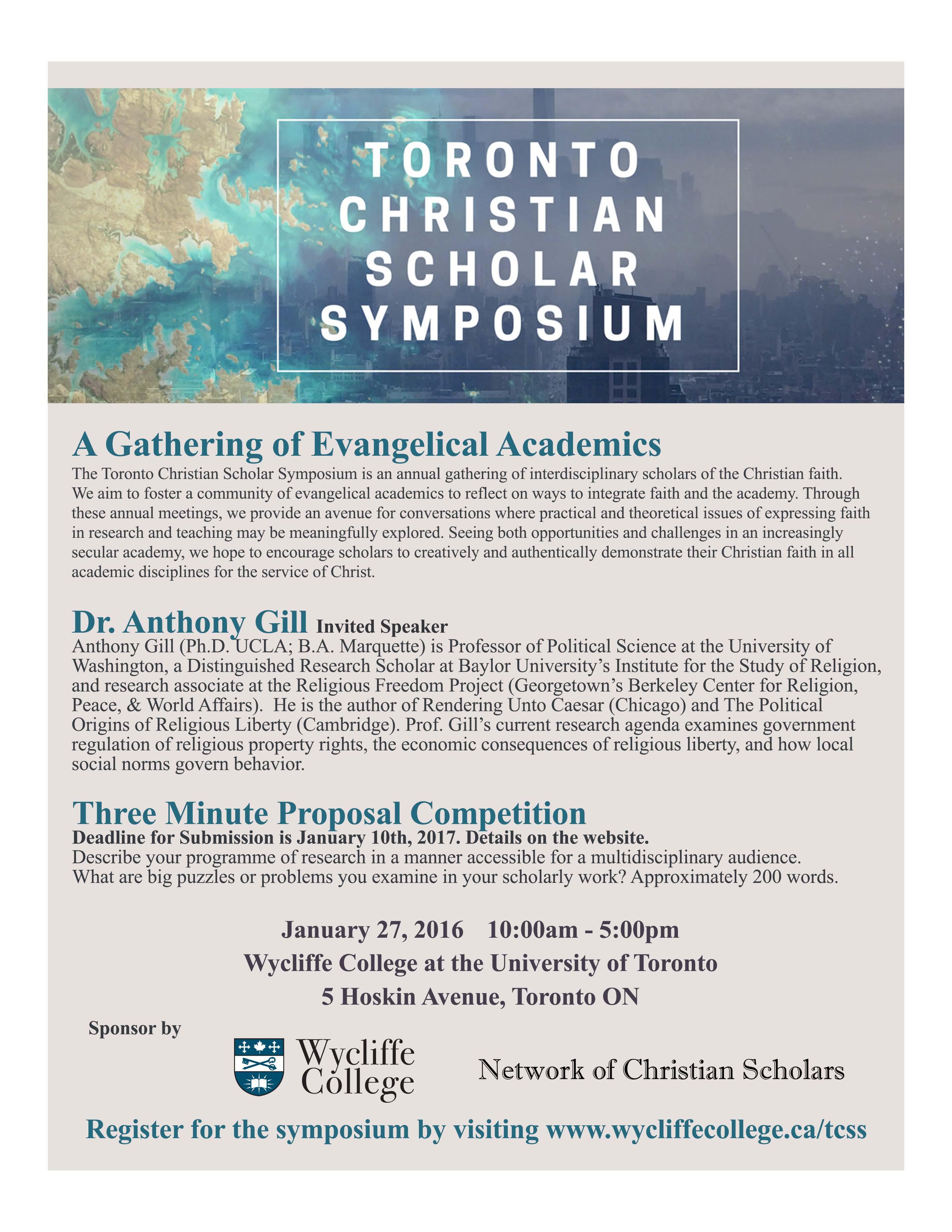 Toronto Christian Scholar Symposium 2017