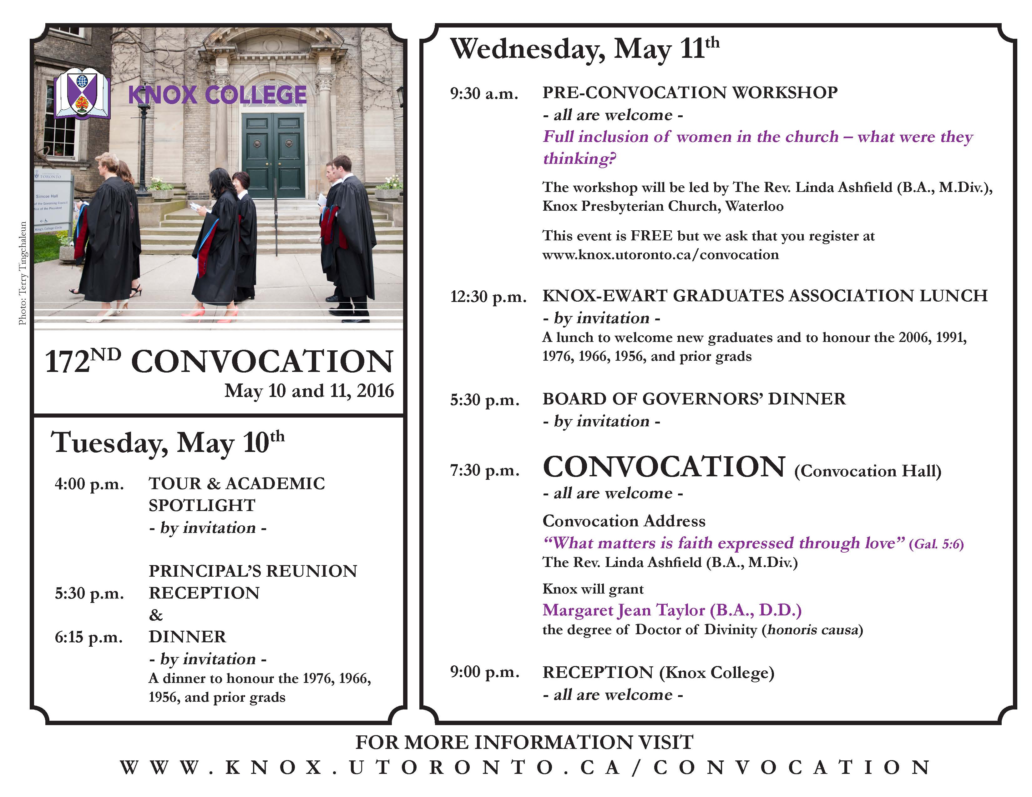 Knox College's 172nd Convocation - Schedule