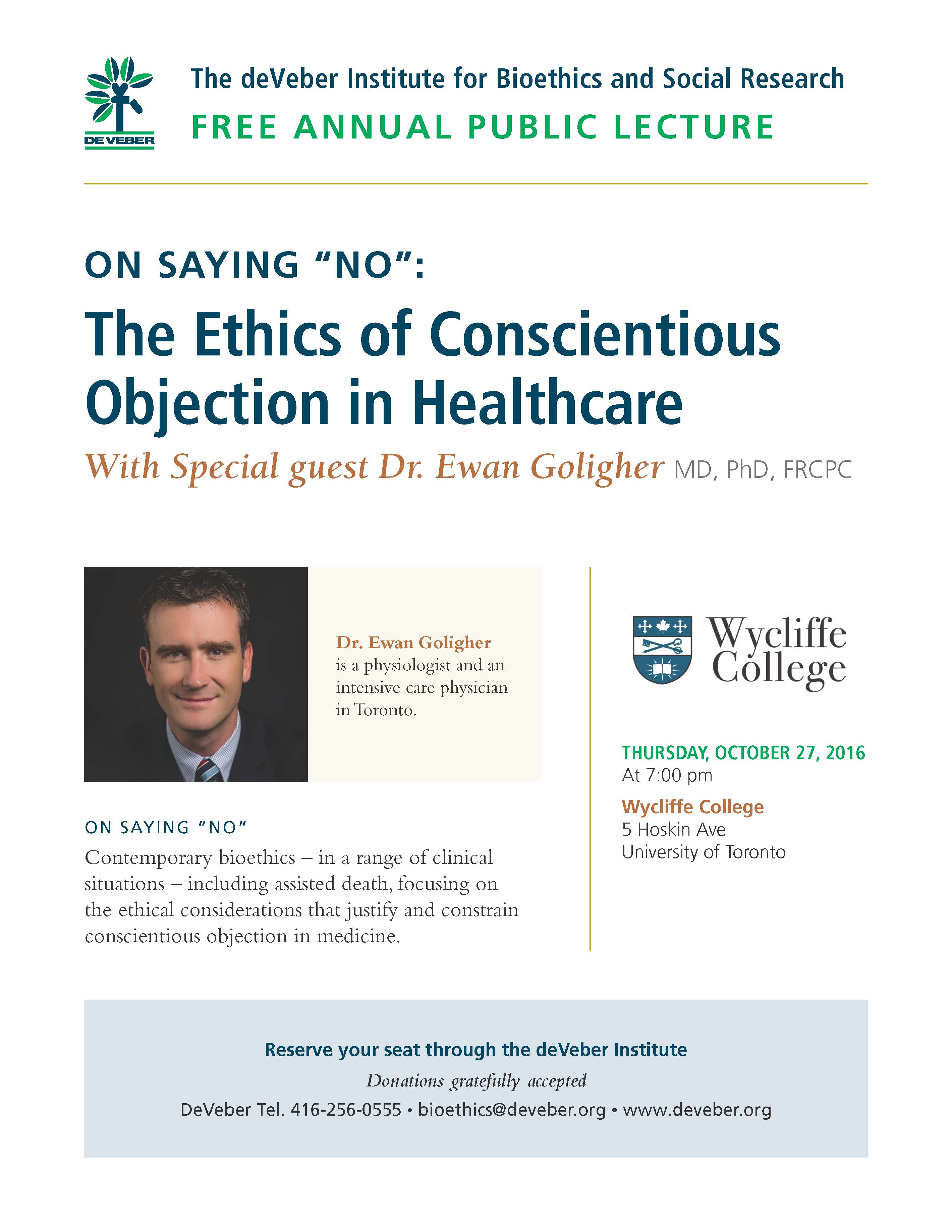 Wycliffe College Public Lecture on Physician-Assisted Suicide