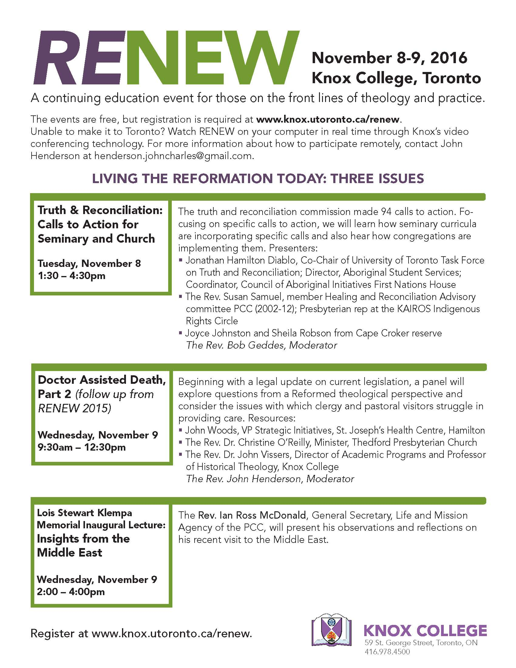 Knox College - RENEW Continuing Education Event