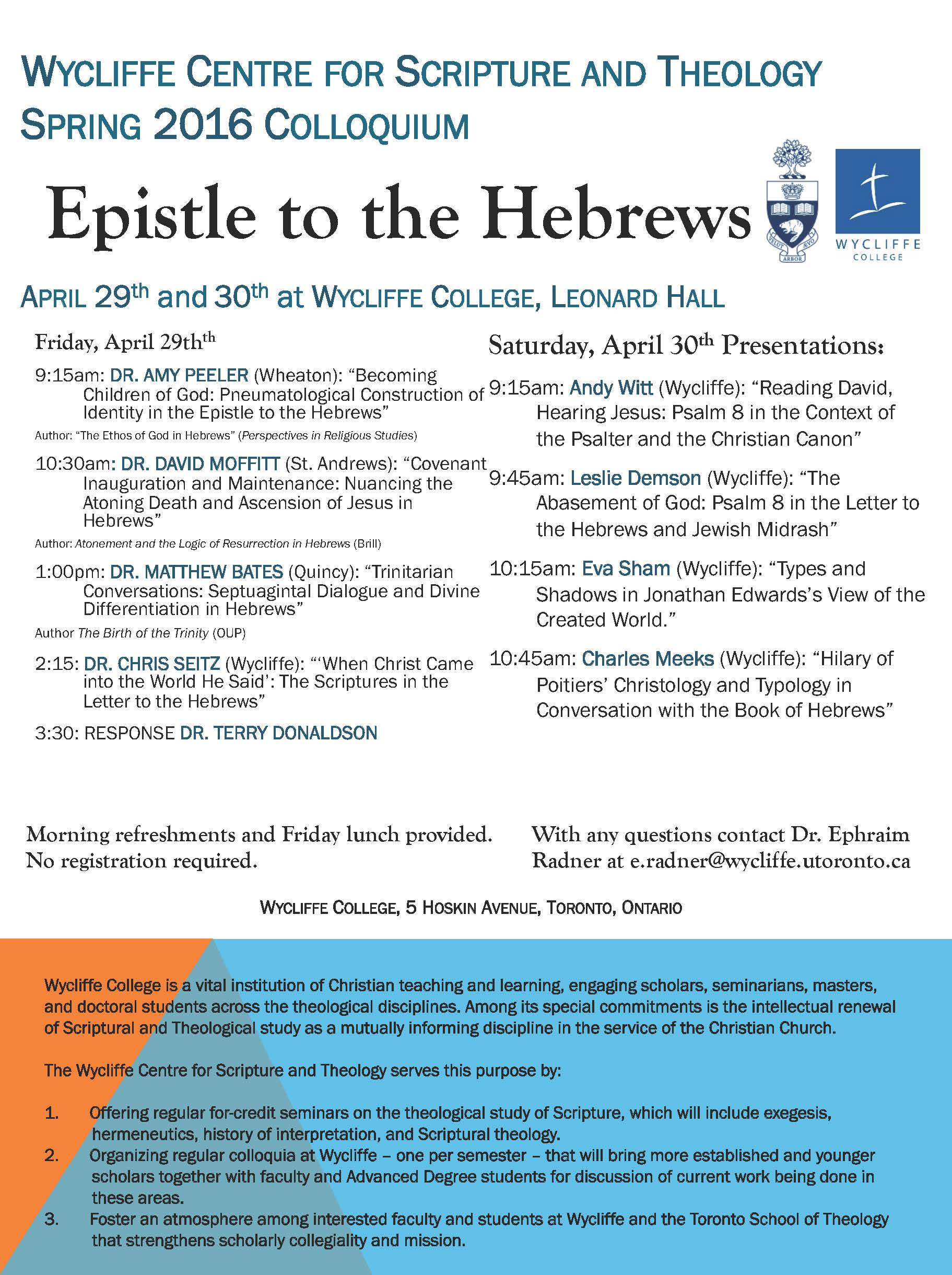 Wycliffe College Scripture and Theology Spring 2016 Colloquium