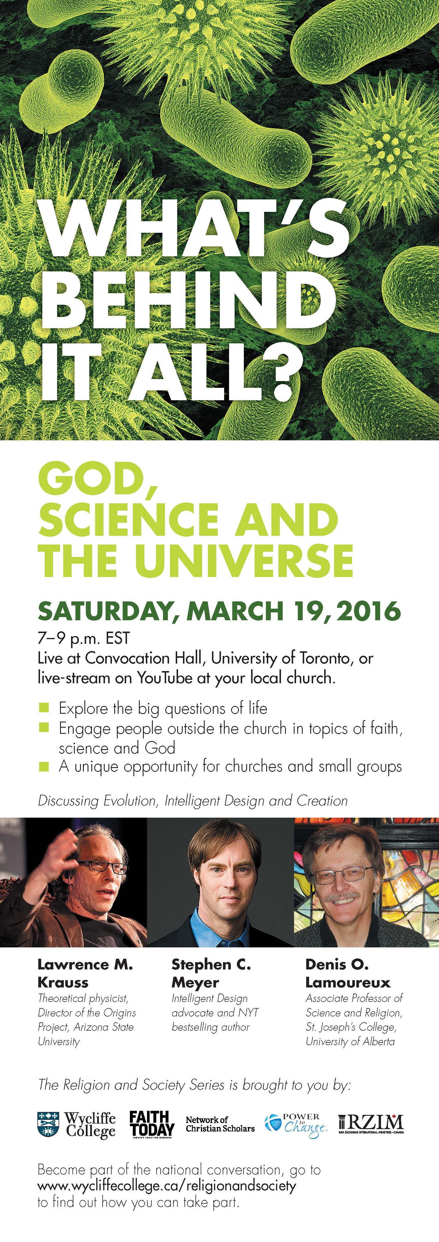 God, Science and the Universe, live streaming event
