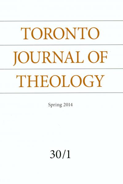 Toronto Journal of Theology Spring 2014 Cover