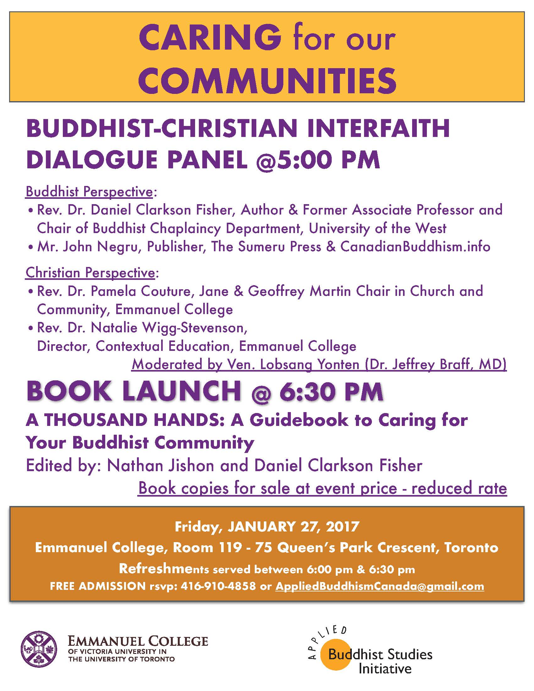 Caring for Cummunities: Buddhist-Christian Interfaith Dialogue Panel and Book Launch